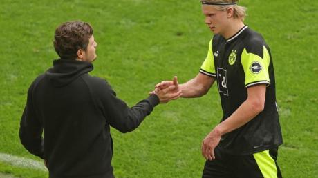 Dortmunds Trainer Edin Terzic und Stürmer Erling Haaland stehen noch beim BVB unter Vertrag.