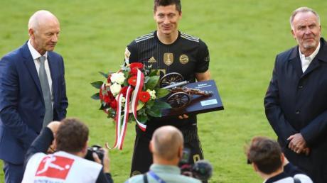 Rekord: Bayern-Stürmer Robert Lewandowski hat 41 Tore in einer Bundesligasaison erzielt.