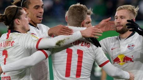 Die Leipziger fertigten den VfL Wolfsburg mit 6:1 ab. Foto: Peter Steffen/dpa
