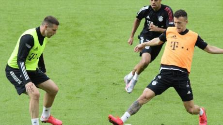 Zurück im Finale? Niklas Süle (l) beim Bayern-Abschlusstraining im Berliner Olympiastadion.