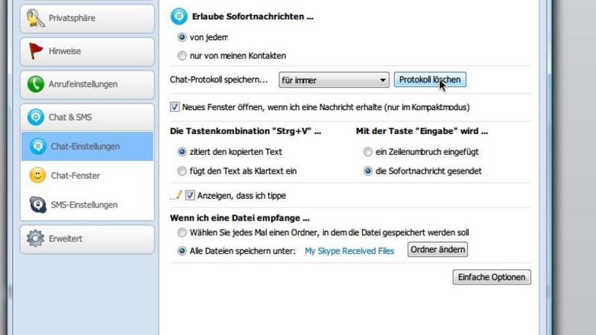 Computer: Chat-Verlauf in Skype löschen | Augsburger