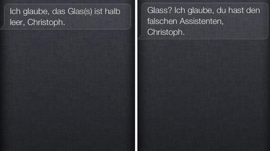 Computer Apples Siri Spottet über Google Glass Digital