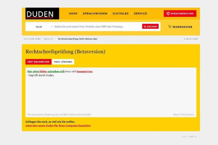 Rechtschreibung Online Prüfen Wie Schreibt Man Es Richtig Dudende