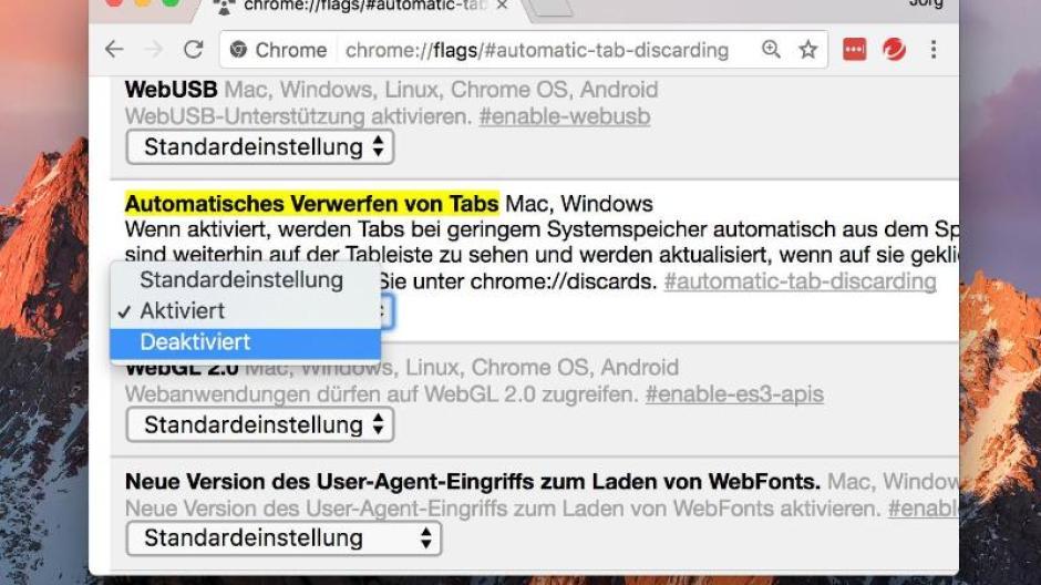 Funktion Deaktivieren Tabs In Google Chrome Nicht Verwerfen