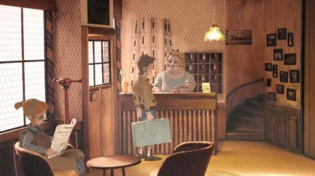 «Ist es ein ruhiges Zimmer?» Protagonist Tannhauser verschlägt es ins fiktive Nest Trüberbrook. Und das ist nur der Anfang einer skurrilen Abenteuergeschichte. Screenshot:bildundtonfabrik/dpa-tmn