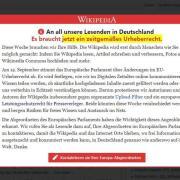 Vorschalt-Seite der freien Internet-Enzyklopädie Wikipedia, auf der zum Protest gegen die geplante Reform des europäischen Urheberrechts aufgerufen wird. Foto: Wikipedia