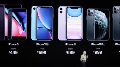 Phil Schiller, Apples Vizepräsident Weltweites Marketing, stellte das neue iPhone 11 Pro und iPhone 11 Pro Max vor. Foto: Tony Avelar/FR155217 AP