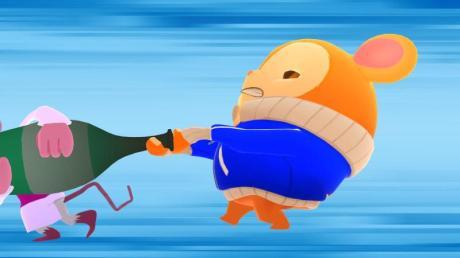Um gegen einen bösen Chinchilla und seine Schergen zu bestehen, muss Hamster Pimm (rechts) auch mal rabiat werden. Screenshot: Muse Games/dpa-tmn. Foto: dpa-tmn