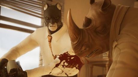In «Blacksad:Under the skin» geht es auch mal härter zu. Hier wehrt sich der Katzen-Detektiv mit der Schreibmaschine gegen ein unfreundliches Nashorn.