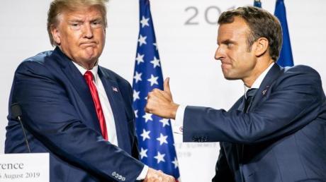 Der französische Präsident Emmanuel Macron und US-Präsident Donald Trump, hier bei einer Pressekonferenz im Januar, führen Gespäche über eine Besteuerung von Digitalunternehmen.