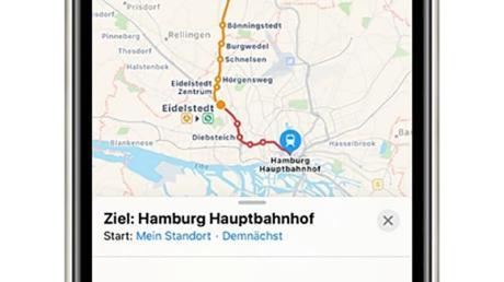 Apple Karten kann jetzt auch Umsteigeverbindungen: Von Hamburger Hauptbahnhof über Eidelstedt nach Kaltenkichen.