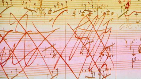 Eine Skizze aus der mit künstlicher Intelligenz fertig gestellten 10. Sinfonie von Beethoven.