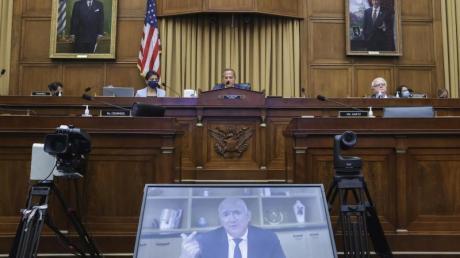 Amazon-CEO Jeff Bezos spricht per Videokonferenz während einer Anhörung des Wettbewerbs-Unterausschusses im Repräsentantenhaus zum Thema Kartellrecht.
