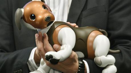 Präsentation von Sonys Roboterhund Aibo auf einer Veranstaltung inTokio.