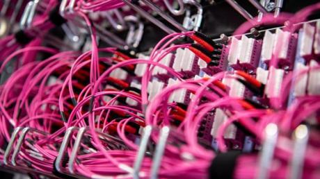 Glasfaserkabel stecken in einem Rechenzentrum vom bayerischen Landeskriminalamt (BLKA) in einem Netzwerk-Switch.