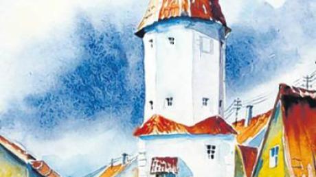 Der Geigerturm. Manfred Liebhardt präsentiert seine stimmungsvolle Malerei.