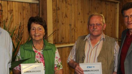 Beim Sommerfest des Bissinger CSU-Ortsverbands: (von links) Ortsvorsitzender Stephan Herreiner, Angela Rieder, Erwin Paulus, Georg Winter.