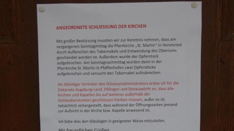 Auf Anordnung des Stellvertreters des Diözesanadministrators, Domkapitular Harald Heinrich, wurden auch im katholischen Dekanat Dillingen Kirchen außerhalb der Gottesdienstzeiten geschlossen – unter anderem die Dillinger Basilika.