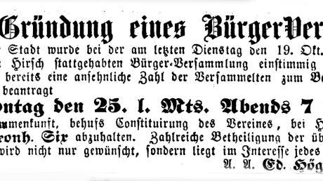 Vor 150 Jahren wurde der Lauinger Bürgerverein gegründet. Der Lauinger Anzeiger berichtete davon.
