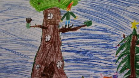 Verzweifelt steht Fritz vor der Bescherung: Christbaum geschmückt, Geschenke bereit – aber Friedas Flöte ist kaputt. Alle Bilder für dieses Märchen stammen von Schülern der dritten Klasse der Aschbergschule in Weisingen. Dieses Bild hier ist von Tim.