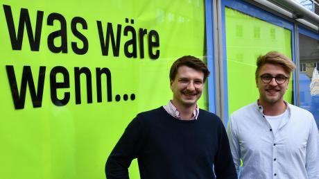 """Peter Baumgartner und Jakob Lenzer (von links) haben die Aktion """"Was wäre, wenn..."""" ins Leben gerufen. Sie wünschen sich eine Alternative zum geplanten Einkaufszentrum."""