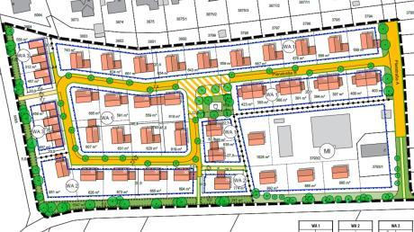 Im Süden Gundelfingens soll ein neues Baugebiet entstehen, das von der Massivhäuser GmbH aus Mörslingen errichtet wird. So sieht der Vorentwurf aus.