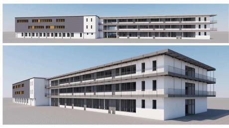 Der weiße Bau des Dillinger Johann-Michael-Sailer-Gymnasiums in der Bürgermeister-Degen-Straße wird abgerissen und durch ein Gebäude mit umlaufendem Balkon ersetzt. Links davon die bereits realisierte Sanierung mit der grauen Fassade entlang des ersten und zweiten Stockwerks.