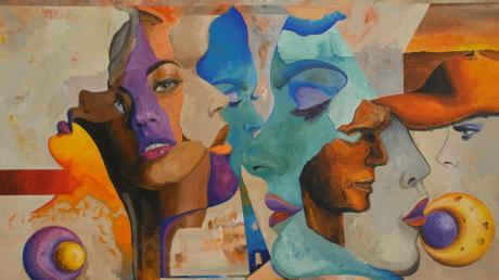 """""""Jeder Mensch hat seine eigene Farbe"""", sagt Luis Alberto Ballon Prado. Diese Sichtweise des Künstlers ist auch in diesem Bild zu entdecken, das mit anderen fantastischen Exponaten in der Burgauer Galerie ausgestellt ist."""