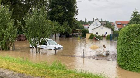 Extremer Regen führte am Sonntag zu Überschwemmungen in Syrgenstein.