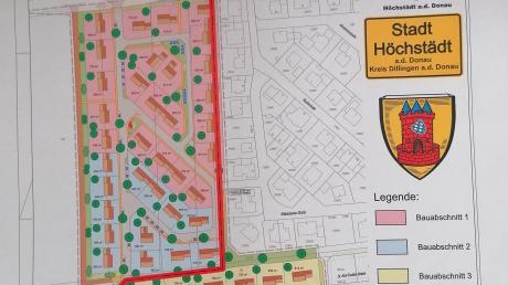 Die Skizze der Stadt Höchstädt zeigt, dass die Bauabschnitte eins und zwei des Baugebietes Unterfeld in Höchstädt auf Deisenhofener Flur geplant sind. Damit die künftigen Häuslebauer auch Höchstädter Bürger werden, müsste die Gemarkungsgrenze verschoben werden. Ganz so einfach ist das aber nicht.