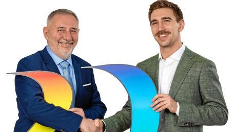 Hans Roch (rechts) hat im Alter von 28 Jahren die Firma Roch-Druck in Dillingen von seinem Vater Hans Roch übernommen.