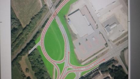 So könnte die neue Verkehrsführung nach dem Umbau der Anschlussstelle West in Höchstädt aussehen.