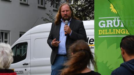 Anton Hofreiter, Fraktionsvorsitzender der Grünen im Bundestag, sprach am Donnerstag in Dillingen.