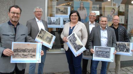 Bei der Ausstellungseröffnung: (von links) Rainer Hönl, Vorsitzender der WV Gundelfingen, Heinz Gerhards, Lydia Edin, Leonhard Menz, Gundelfingens Zweiter Bürgermeister Roman Schnalzger und Alexander Mayer.