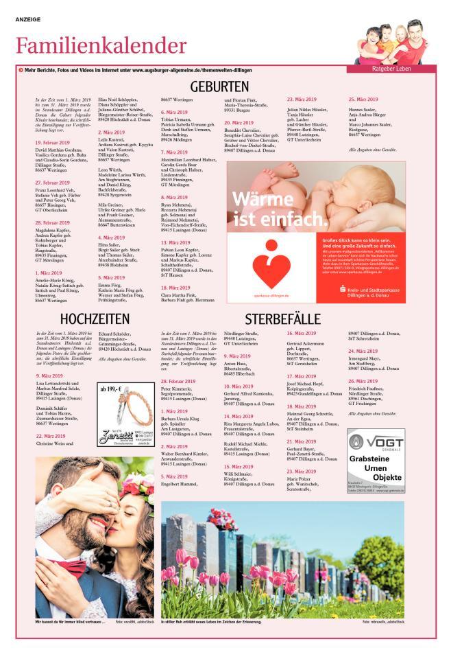 Familienkalender April