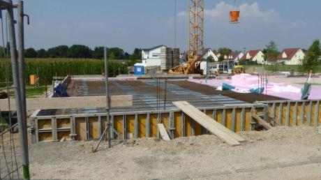 Ein Kindergarten und eine Krippengruppe soll es ab 2017 in Münster geben. Die Bauarbeiten sind in vollem Gange.