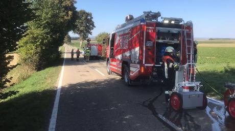 An der Staatsstraße zwischen Gut Sulz und Holzheimgab eseinen Flächenbrand. Die Feuerwehren aus Münster und Holzheim waren im Einsatz.