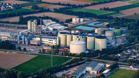 Luftbild der Firma Südzucker in Rain am Lech.