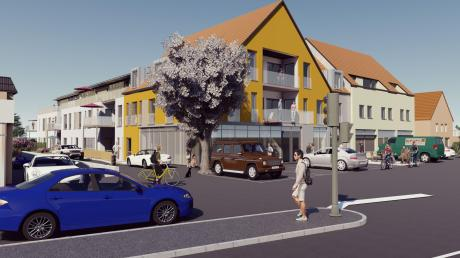 So soll das neue Gebäude aussehen, das auf dem Ferschl-Gelände gebaut werden soll: Das ockerfarbene Haus steht nach vorne Richtung Neuburger Straße, dahinter liegen zwei weitere Gebäudetrakte (weiß). Rechts davon: die ehemalige Hypo-Bank und die Weinhandlung Bischoff.