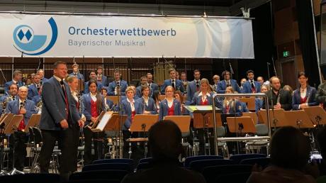 Dirigent Andreas Nagl mit der Stadtkapelle beim Bayerischen Orchesterwettbewerb in München, wo die Musiker einmal mehr hervorragend abschnitten.