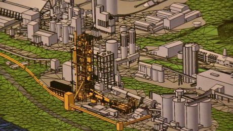 """Auf dieser Abbildung ist das Ausmaß des Projekts """"Ofen 8"""" im Märker-Werk in Harburg sichtbar. Die neuen Anlagenteile sind gelb gefärbt. Sie sollen zur B25 hin errichtet werden, die an der Fabrik vorbeiführt (graues Band)."""