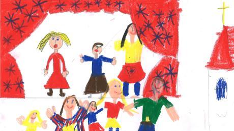 Singen gehört zu Weihnachten und auch in die Kirche. Tabita Hilgendorf aus Donauwörth ist fünf Jahre alt und hat für uns gemalt, was sie mit Weihnachtsliedern verbindet.