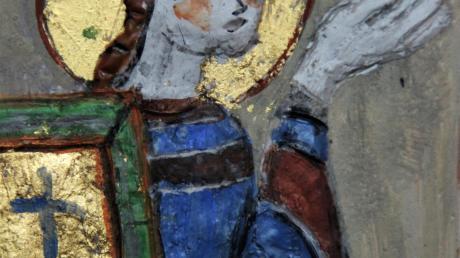 Der Evangelist Johannes, eine Votivarbeit mit Wachs, Gold und Pigmenten von Ingrid Maria Steinacker.