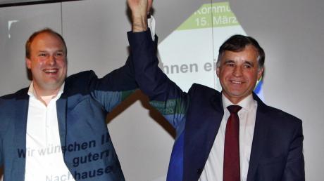 Günther Pfefferer geht auch 2020 wieder für die CSU ins Rennen um das Bürgermeisteramt. Hier mit Ortsvorsitzendem Konrad Müller
