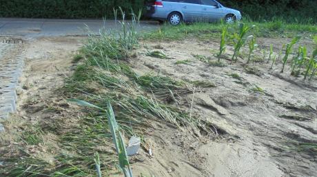 Durch Starkregen wurde in Kölburg (im Bild) und in anderen Monheimer Ortsteilen im Sommer 2018 viel Erdreich von den Äckern geschwemmt.