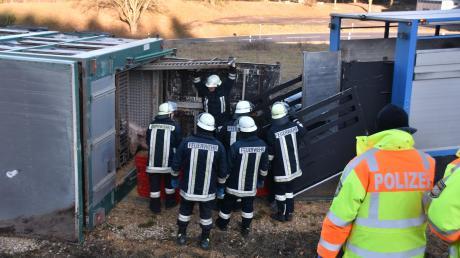 Die Feuerwehr half nach dem Unfall beim Umladen der Schweine.