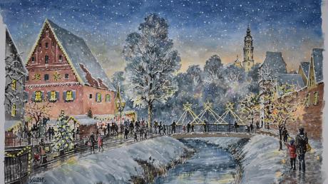 Wird es in Donauwörth so weihnachtlich-weiß wie in Christa Knitls Aquarell?