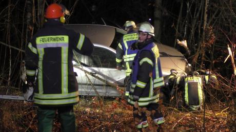 Im dichten Gebüsch landete der Wagen einer 29-Jährigen. Die Feuerwehr musste ihn bergen.