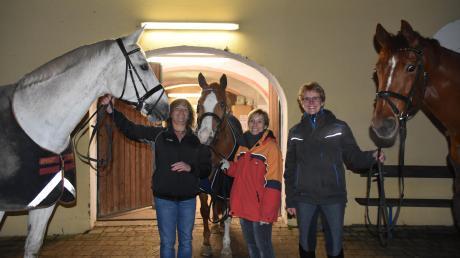 """Sabine Mayer (links) mit Pferd """"Rubeus"""", Sabine Hickl (Mitte) mit Pferd """"Johnny"""" und Sabine Machura mit Pferd """"Captain Jack Sparrow"""" sind drei der Trainerinnen, bei denen man im Reit- und Fahrverein Donauwörth-Mertingen Voltigieren lernen kann."""