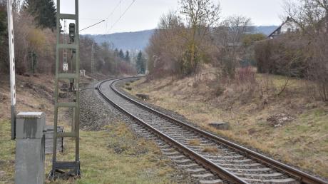 Auf diesem Abschnitt zwischen den Bahnübergängen Mündlinger Straße und Wemdinger Straße soll der neue Haltepunkt links vom Gleis entstehen.